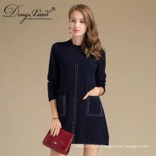 Suéter hecho punto por encargo de la cachemira del cuello redondo de las ventas al por mayor con los bolsillos