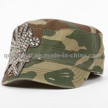 Fashion Rhinestone Applique Grinding Washed Leisure Military Cap (TM666504099A)