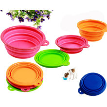 Conjunto de 3 Silicone Pet Expandable Travel Bowl