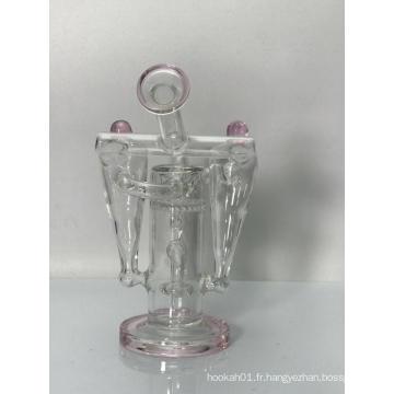 Bangs de pipe à eau en verre rose Robot Recycler