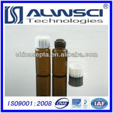 Frasco de armazenamento de vidro âmbar de 10ML com copo de PVC branco fechado Frasco de autoampler HPLC / GC 22x52mm
