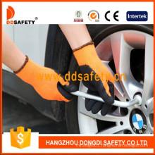 Fluorescent Nylon Black Latex Safety Glove Dnl415