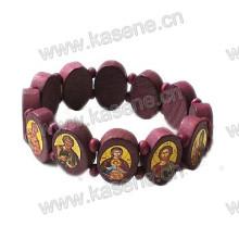 Red Coffee Ellipse Epoxy Saint Image Wooden Rosary Bracelet