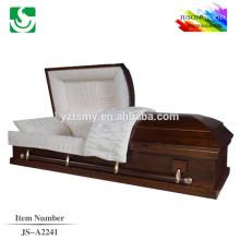 Couleur standard cercueil en bois massif traditionnel haute brillance