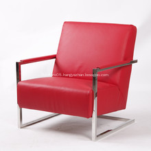 Elegant Modern Leather Armchair with Stainless Steel Frame