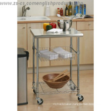 DIY 3 Tiers Stainless Steel Kitchen Cart with One Basket