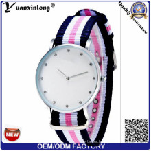 Yxl-250 Top Sale Famous Brand Geneva Wristwatch Women Nylon Facrib Watches Men Stripe Printed Casual Diamond Quartz Watch Multi-Color Clock