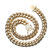12mm Hip Hop Rock 18k Gold Plated Cuban Chain Lock White Diamond Stainless Steel Jewelry Necklace Bracelet