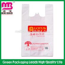 Bolso de plástico conveniente del diseño PO / PE BOLSO de la CAMISETA para el paquete que hace compras
