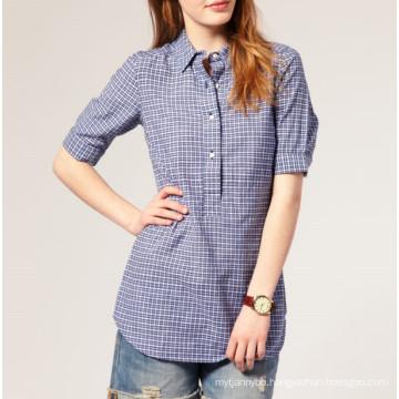 Fashion 100%Cotton Check Fabric Wholesale Women and Girl′s Shirt
