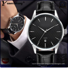 Yxl-553 Quality Choice Slim Stainless Steel Case Quartz Watch with Date in Leather Strap for Men