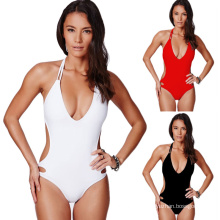 2018 summer swimwear beachwear pure color high-waisted one piece swimsuit