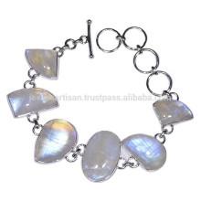 Природные Радуга Лунный камень с 925 стерлингового серебра Браслет ювелирные изделия по лучшей цене