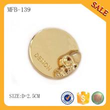 MFB139 Rivet à bouton rond en forme de bouton en métal, appuyez sur le bouton en métal avec une couleur dorée