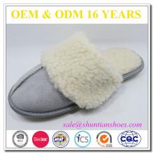 warm plush furry collar TPR sole winter warm indoor slippers