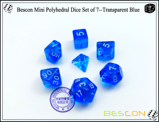 Bescon Mini Polyhedral Dice Set of 7--Transparent Blue-2