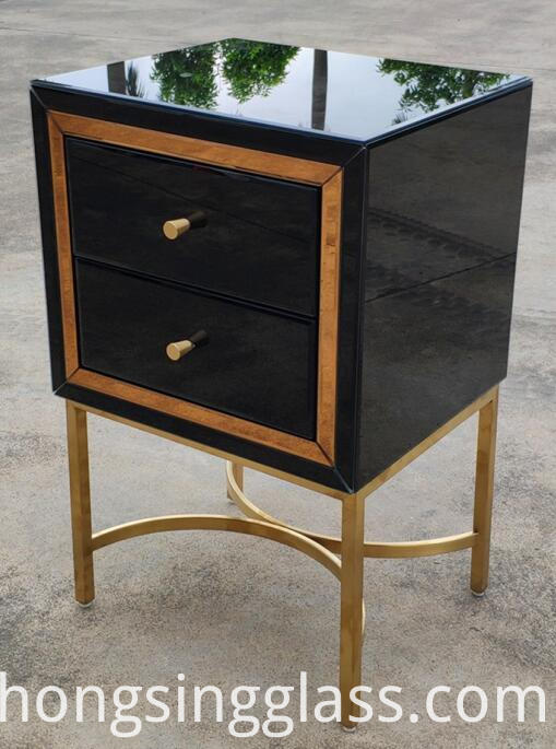 Black Gold 2 Drawer Bedside Metal Leg