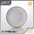 A042 Elegantes Blatt Knochen China Restaurant verwendet Platte mit Goldrand