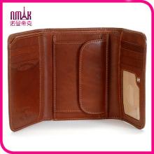 Men Retro Genuine Leather 3 Fold Wallet Trifold Cowhide Money Purse Multi-Card Holder