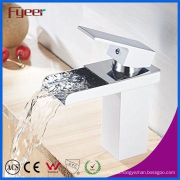 Fyeer Chrome Short Arc Rectangular Spout Single Handle Waterfall Bathroom Wash Basin Faucet Water Mixer Tap