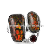 Natural Ammolite And Garnet Gemstone 925 Sterling Silver Ring Jewelry