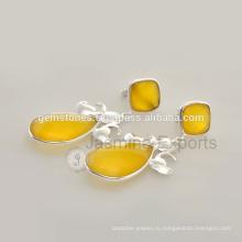 Ручной Работы Желтый Халцедон Дизайнер Индийские Серебряные Ювелирные Изделия Для Очень Специальных Рождество