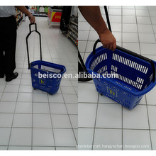 Durable shopping basket on wheels for convenience store