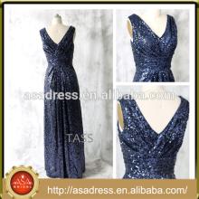 E 1002 ornamento espumoso lentejuelas de longitud entera v escote azul marino vestido de dama de honor