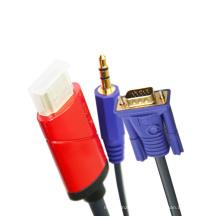 HDMI para VGA + Audio Cabo de 3,5 mm (2m, 3m, 5m opcional, YL-C388)