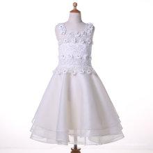 Organza / vestido de gasa de la muchacha de flor del diseñador para la boda y ceremonial