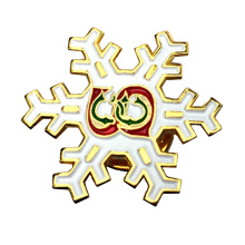 Jul Souvenir Glitter White Snowflake Lapel Pin
