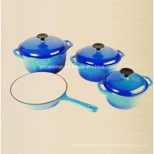 Enamel Cast Iron Cookware Set in 4PCS in Blue Color