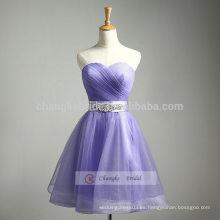 Púrpura A-Line Sweetheart vestido de dama de honor vestido de noche Pompon vestido