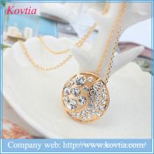 Fashion design ouro jóias alibaba com áustria colar de cristal yinyang