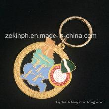 Keychain d'électrodéposition d'or pour le cadeau promotionnel