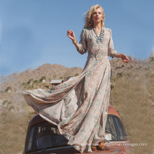 Vestido atractivo femenino fresco del vestido de la nueva manera del estilo Froral impreso vestido largo de la falda