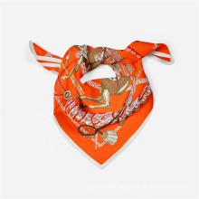 Wholesale Spring Autumn Elegant Lady Horse Chain Pattern Neck Square Satin Silk Scarf Luxury Headband Scarves