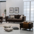Solid Wood Brown Fabric Upholstery Sofa Set