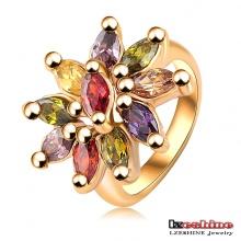 Anneau Multicolor Zircon Crystal Flower (Ri-HQ0012)