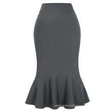 Kate Kasin Occident Women's Fashion OL Causal Grey Mermaid Hips-Wrapped Pencil Skirt KK000241-4