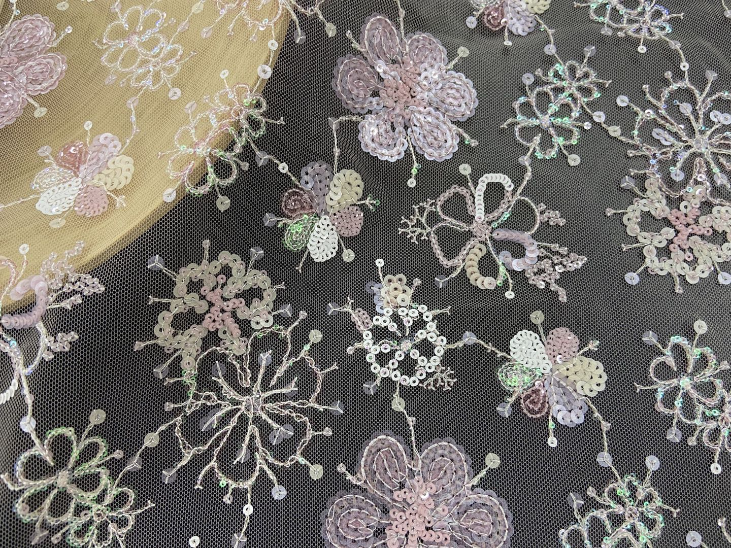 Pink-Series Blossoms Sequin Embrodiery Fabric