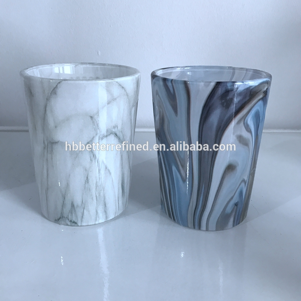 Marble Design Glass Candle Jar