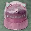Pink Paillette Cat Ears Children Snapback Cap