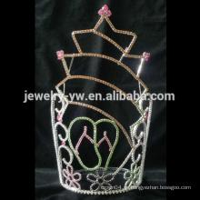 Forma la plata del metal plateó la corona cristalina grande grande del desfile de la forma de la estrella para la venta