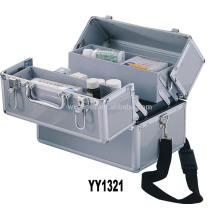 alumínio esvaziar a caixa de primeiros socorros com 4 bandejas e uma cinta de ombro atacado