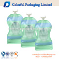 BPA clear stand up pouches 2 zipper baby food grade flat bottom liquid pouch bag with spout