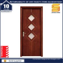 European Style Mahogany Wood Teak Wood Glass Panel Wooden Door