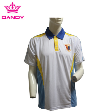 Custom Embroidery Logo Mens vit polo