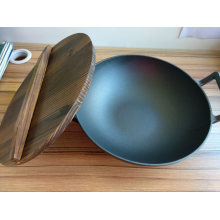 Professional Chinese Cast Iron Binaural Wok Pan with Wooden Lid