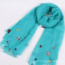 Bufanda de señora de organza de alta calidad con flor de tela y cuentas